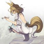 1girl :d animal_ears ass backless_outfit bare_back blonde_hair breasts clothing_cutout commentary_request fox_ears fox_girl fox_tail from_behind green_ribbon highres holding_test_tube kudamaki_tsukasa looking_down motion_lines onesie open_mouth ribbon rock romper shope short_hair small_breasts smile socks solo squatting tail tail_cutout test_tube touhou white_jumpsuit white_legwear yellow_eyes