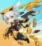 1girl aqua_hair bangs blush boots breasts chibi derivative_work eyebrows_visible_through_hair floating_hair grey_hair hair_behind_ear joints leotard looking_at_viewer mecha_musume model_kit open_hand open_hands plamo pointy_ears richetta_(30ms) robot_joints sankuma science_fiction short_hair small_breasts smile solo thigh-highs thigh_boots thirty_minutes_sisters