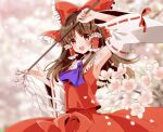 1girl :d arm_up armpits ascot bangs blurry blurry_background blush bow breasts brown_hair cherry_blossoms commentary cowboy_shot day detached_sleeves eyebrows_visible_through_hair frills gohei hair_bow hair_tubes hakurei_reimu holding large_bow long_hair looking_at_viewer nontraditional_miko okawa_friend open_mouth outdoors parted_bangs petals purple_neckwear red_bow red_eyes red_skirt skirt small_breasts smile solo touhou wide_sleeves wind