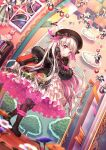 black_dress book doll_joints dress fate/extra fate/grand_order fate_(series) food_print joints mushroom_print nursery_rhyme_(fate) pink_eyes white_hair