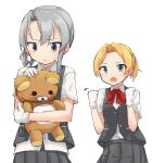 2girls blonde_hair bow bowtie clenched_hands closed_mouth commentary_request dress_shirt frown gloves green_eyes grey_eyes grey_hair grey_skirt grey_vest hair_intakes holding holding_stuffed_toy kakizaki_(chou_neji) kantai_collection long_hair looking_at_another maikaze_(kancolle) medium_hair multiple_girls nowaki_(kancolle) open_mouth pleated_skirt red_neckwear shirt short_hair short_ponytail short_sleeves simple_background skirt stuffed_animal stuffed_toy teddy_bear trembling vest white_background white_gloves white_shirt wing_collar