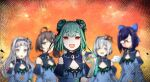 6+girls amane_kanata angel axe bangs bare_tree blue_dress blue_hair blue_sleeves blunt_bangs blurry blurry_background closed_eyes cosplay depth_of_field detached_sleeves double_bun dress eyebrows_visible_through_hair fang flat_chest glasses golden_axe_(weapon) green_hair hair_ornament halo hat holding holding_axe holding_knife hololive hoshimachi_suisei knife long_hair looking_at_viewer multicolored_hair multiple_girls murasaki_shion natsuiro_matsuri no_mouth one_side_up opaque_glasses open_mouth pink_hair red_eyes short_hair side_ponytail silver_hair skull_hair_ornament smile streaked_hair swept_bangs tenbin_gashira trait_connection tree upper_body uruha_rushia uruha_rushia_(cosplay) virtual_youtuber wings yellow_eyes yuujin_a_(hololive)