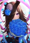 1girl absurdres animal_ears black_headwear blue_flower blue_rose blush bouquet brown_hair closed_mouth crying crying_with_eyes_open dress ekidona flower hair_over_one_eye hat hat_flower highres horse_ears horse_girl long_hair looking_at_viewer off-shoulder_dress off_shoulder petals rice_shower_(umamusume) rose rose_petals smile solo tears tilted_headwear umamusume violet_eyes