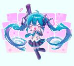 >_< 1girl :d ahoge arm_up bangs black_footwear black_legwear black_skirt black_sleeves blue_hair blue_neckwear boots chibi collared_shirt commentary detached_sleeves full_body gun hair_between_eyes handgun hatsune_miku headset holding holding_gun holding_weapon long_hair necktie nyam_030 open_mouth pistol pleated_skirt shirt skirt smile solo thigh-highs thigh_boots twintails v very_long_hair vocaloid weapon white_shirt xd