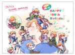6+boys :3 ^^^ alternate_hair_color ascot battle_tendency birthday black_coat black_neckwear blonde_hair blue_footwear blue_gloves blue_jacket blue_shirt blush boots bow bowtie brown_footwear bubble caesar_anthonio_zeppeli character_name checkered checkered_headwear child climbing closed_eyes clothes_grab coat commentary_request copyright_name cropped_jacket crossed_legs dated eighth_note embarrassed facial_mark fingerless_gloves flying_sweatdrops gloves green_coat green_eyes green_gloves green_jacket grin hair_bobbles hair_ornament half-closed_eyes happy_birthday hat headband heart holding holding_wrench in_bubble in_palm jacket jojo_no_kimyou_na_bouken knee_pads leotard leotard_under_clothes male_focus miniboy multiple_boys multiple_persona musical_note official_alternate_costume on_head on_shoulder one_eye_closed overalls pants person_on_head pink_hair pink_leotard pink_scarf pink_shirt polka_dot red_neckwear red_scrunchie scarf scrunchie shirt short_hair sitting smile star_(symbol) striped striped_pants sweat takami_don teenage top_hat triangle_print wariza white_hair white_jacket white_pants white_shirt wing_hair_ornament wrench younger |_|