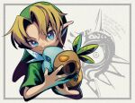 1boy blonde_hair blue_eyes commentary_request cropped_torso english_text green_headwear green_shirt grey_background holding holding_mask link male_focus mask pointy_ears shirt the_legend_of_zelda the_legend_of_zelda:_majora's_mask ukata young_link