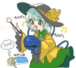 2girls :> =v= bangs bell blanket blouse bone bow buttons closed_eyes dreaming drumsticks ebisu_eika frilled_sleeves frills green_eyes green_hair green_skirt hat hat_bow hat_ribbon highres holding holding_drumsticks howhow_notei komeiji_koishi light_blush multiple_girls musical_note open_mouth ribbon skirt sleeping touhou translation_request white_background wide_sleeves yellow_blouse