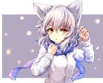 1girl animal_ears blue_scarf breasts gradient_eyes highres long_sleeves multicolored multicolored_eyes orange_eyes original red_eyes scarf short_hair silver_hair sweater utinokofia white_sweater