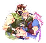 2boys abs annoyed arm_around_shoulder artist_name bandaid bandaid_on_arm bandaid_on_cheek bandaid_on_face bandaid_on_nose bandaid_on_shoulder bandaid_on_stomach bare_shoulders battle_tendency belt birthday blonde_hair blue_eyes blue_nails blue_shirt blush brown_hair caesar_anthonio_zeppeli closed_eyes clothing_cutout commentary_request covered_mouth crop_top cropped_torso facial_mark feathers fingerless_gloves fingernails glint gloves green_gloves green_nails green_scarf hair_feathers hand_on_hip happy_birthday hatoyama_itsuru headband heart hug jojo_no_kimyou_na_bouken joseph_joestar_(young) male_focus mask midriff mouth_mask multiple_boys muscular muscular_male nail_polish navel open_mouth pectorals scarf scratches shirt short_hair short_sleeves simple_background sleeveless star_(symbol) striped striped_scarf t-shirt torn_clothes triangle_print twitter_username upper_body white_background