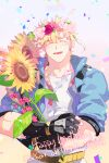 1boy bad_id bad_pixiv_id battle_tendency birthday black_gloves blonde_hair blue_jacket caesar_anthonio_zeppeli cattail character_name closed_eyes confetti eyebrows_visible_through_hair facial_mark facing_viewer feathers fingerless_gloves flower gloves hair_feathers happy_birthday head_wreath headband_removed holding holding_flower holding_stick jacket jojo_no_kimyou_na_bouken kumi_(kkumicha) light_blush male_focus petals pink_flower plant shirt short_hair short_sleeves smile solo stick sunflower upper_body white_shirt yellow_flower