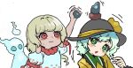 1other 2girls bangs blonde_hair blouse bow earlobes ebisu_eika frilled_shirt frilled_shirt_collar frills ghost green_eyes green_hair hat hat_bow hat_ribbon holding_rock howhow_notei komeiji_koishi looking_at_another multiple_girls open_mouth puffy_short_sleeves puffy_sleeves pun red_eyes ribbon rock_balancing shirt short_hair short_sleeves stacking stone touhou upper_body wavy_mouth white_background yellow_blouse yellow_shirt