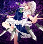 1girl apron blue_footwear blue_skirt blue_vest blurry blurry_foreground blush braid breasts commentary depth_of_field eyebrows_visible_through_hair foot_out_of_frame foreshortening frilled_skirt frills glint green_ribbon hair_between_eyes hair_ribbon high_heels izayoi_sakuya knife leg_up long_hair looking_at_viewer maid_apron maid_headdress medium_breasts neck_ribbon okawa_friend open_mouth outstretched_arm puffy_short_sleeves puffy_sleeves ribbon shirt short_sleeves side_braids silver_hair skirt socks solo thigh_strap touhou tress_ribbon twin_braids vest violet_eyes white_legwear white_shirt