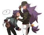 ! 2boys baseball_cap black_pants bright_pupils brothers closed_mouth commentary_request dark_skin dark_skinned_male eyelashes facial_hair fur-trimmed_jacket fur_trim gen_5_pokemon hat highres hop_(pokemon) jacket korean_commentary leon_(pokemon) long_hair long_sleeves male_focus multiple_boys notice_lines open_mouth pants pokemon pokemon_(game) pokemon_swsh pokemon_tail purple_hair redlhzz short_hair siblings simple_background smile spoken_exclamation_mark teeth white_background white_pants white_pupils yellow_eyes zorua