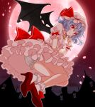 1girl bat_wings bloomers blush bow breasts brooch building cherry_blossoms closed_mouth commentary dress eyebrows_visible_through_hair floating frilled_dress frilled_legwear frills from_below full_body full_moon glint hair_between_eyes hand_on_own_chin hat hat_ribbon high_heels jewelry large_bow light_blue_hair looking_at_viewer mob_cap moon night night_sky okawa_friend outdoors petals pink_dress pink_headwear puffy_short_sleeves puffy_sleeves red_bow red_eyes red_footwear red_moon remilia_scarlet ribbon short_hair short_sleeves sky small_breasts smile socks solo touhou underwear upskirt white_bloomers white_legwear wings wrist_cuffs