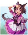 1girl :d animal_ears arm_up bangs blue_ribbon blush bow braid breasts brown_hair brown_vest collared_shirt commentary eyebrows_visible_through_hair hair_bow highres horse_ears horse_girl horse_tail jacket looking_at_viewer medium_breasts multicolored_hair neck_ribbon open_mouth puffy_short_sleeves puffy_sleeves purple_bow purple_neckwear ribbon shirt short_sleeves skirt smile solo special_week_(umamusume) streaked_hair tail tsunakawa twitter_username umamusume vest violet_eyes white_hair white_jacket white_skirt wristband
