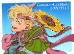 1boy battle_tendency birthday blonde_hair blue_gloves caesar_anthonio_zeppeli carota327 character_name closed_eyes commentary_request dated facial_mark feathers fingerless_gloves flower from_side gloves hair_feathers happy headband holding holding_flower jojo_no_kimyou_na_bouken male_focus open_mouth outline pink_scarf profile scarf short_hair sideways_mouth smile solo sunflower symbol_commentary triangle_print white_outline yellow_flower