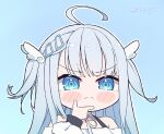 1girl ahoge amatsuka_uto bangs blue_background blue_eyes blush_stickers chibi chin_stroking dress english_commentary eyebrows_visible_through_hair furrowed_eyebrows hair_ornament hairclip hand_on_own_chin indie_virtual_youtuber kukie-nyan light_blue_hair looking_at_viewer sidelocks solo thinking twitter_username virtual_youtuber