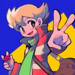 1boy :d bag bangs barry_(pokemon) blonde_hair bright_pupils brown_bag commentary_request green_scarf hair_between_eyes highres holding holding_poke_ball long_sleeves male_focus ok_ko19 open_mouth poke_ball poke_ball_(basic) pokemon pokemon_(game) pokemon_dppt pokemon_platinum scarf shoulder_bag smile solo tongue v white_pupils