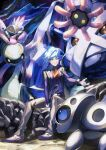 1boy anorith aron bangs belt belt_buckle blue_eyes blue_hair buckle closed_mouth commentary_request cradily eyebrows_visible_through_hair gen_3_pokemon highres jacket lileep long_sleeves looking_to_the_side male_focus metagross open_clothes open_jacket pants pokemon pokemon_(game) pokemon_oras rock shoes short_hair sitting smile spiky_hair steven_stone yamanashi_taiki