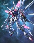amasaki_yusuke blue_eyes build_strike_galaxy_cosmos clenched_hand glowing glowing_eye gun gundam gundam_build_fighters gundam_build_fighters_battlogue holding holding_gun holding_weapon looking_up mecha mechanical_wings mobile_suit no_humans science_fiction shield solo v-fin weapon wings