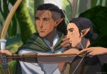 1boy 1girl black_hair blue_eyes bow_(weapon) character_request cheetahman_(1ddghfr78cswc) cloak dark_skin dark_skinned_female dark_skinned_male dragon_age elf facial_tattoo forest from_side grey_eyes hair_bun hairlocs holding holding_weapon long_hair nature outdoors pointy_ears shirt smile tattoo tree undercut weapon