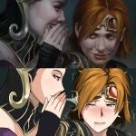 2girls armor black_hair blowing_in_ear blurry blurry_background blush chandra_nalaar dress ear_blush filigree goggles goggles_on_head headpiece liliana_vess long_hair looking_at_another magic:_the_gathering mixed-language_commentary multiple_girls one_eye_closed open_mouth orange_hair pale_skin parody pauldrons purple_dress red_wingp2 redhead reference_work short_hair shoulder_armor strapless strapless_dress tearing_up trembling very_long_hair whispering