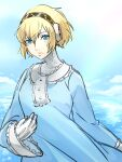 1girl aegis_(persona) android arm_up atlus bangs blonde_hair blue_dress blue_sky clouds cloudy_sky collar collared_dress dress frilled_collar frilled_dress frilled_sleeves frills hair_between_eyes hair_intakes hand_up highres kokomi_(aniesuakkaman) long_sleeves megami_tensei ocean open_mouth parted_lips persona persona_3 robot_girl sega shiny shiny_hair short_hair signature simple_background sky solo_focus summer_dress sunlight teeth white_collar wide_sleeves