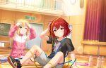 blush idolmaster_cinderella_girls_starlight_stage murakami_tomoe redhead shirt short_hair smile violet_eyes