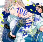 1boy 2018 battle_tendency beamed_eighth_notes birthday blonde_hair blue_gloves blue_jacket caesar_anthonio_zeppeli character_name closed_eyes commentary facial_mark feathers fingerless_gloves gloves grin hair_feathers happy_birthday headband holding holding_paintbrush jacket jojo_no_kimyou_na_bouken joseph_joestar_(young) koeri male_focus musical_note out_of_frame paint paint_on_clothes paint_stains paintbrush shirt short_hair smile solo_focus symbol_commentary triangle_print white_shirt