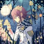 1boy bangs bug butterfly butterfly_on_finger buttons checkered checkered_scarf cheer_(cheerkitty14) danganronpa_(series) danganronpa_v3:_killing_harmony double-breasted english_commentary flower hair_between_eyes hand_up highres insect jacket lamp long_sleeves looking_at_animal male_focus night ouma_kokichi pink_eyes pink_flower profile purple_hair scarf short_hair solo violet_eyes white_jacket