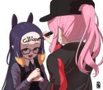 2girls black-framed_eyewear black_dress black_headwear black_jacket body_writing commentary dress english_commentary glasses hat holding hololive hololive_english jacket long_hair mori_calliope multiple_girls ninomae_ina'nis open_mouth pink_hair ponytail purple_hair simple_background smile striped sweatdrop upper_body vertical-striped_dress vertical_stripes violet_eyes virtual_youtuber voc white_background