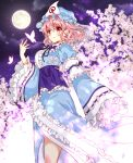 1girl black_ribbon blue_headwear blue_kimono blurry blurry_background blush bokeh breasts bug butterfly cherry_blossoms closed_mouth clouds cloudy_sky commentary cowboy_shot depth_of_field eyebrows_visible_through_hair floral_print frilled_hat frilled_kimono frilled_sleeves frills full_moon hair_between_eyes hat insect japanese_clothes kimono looking_at_viewer medium_breasts mob_cap moon neck_ribbon night night_sky okawa_friend outdoors pink_hair red_eyes ribbon saigyouji_yuyuko short_hair sky sleeves_past_fingers sleeves_past_wrists smile solo standing touhou tree triangular_headpiece wavy_hair wide_sleeves wind