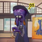 1girl baloolax beret black_headwear dress english_commentary forehead frown fusion hat highres holding holding_instrument hololive hololive_english instrument long_sleeves ninomae_ina'nis official_alternate_costume painting_(object) recorder solo spongebob_squarepants squidward_tentacles tako_(ninomae_ina'nis) tic-tac-toe twitter_username