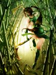 akali armor ass back bamboo bamboo_forest boots breasts brown_hair dress dual_wielding forehead_protector forest gloves greaves green_dress green_eyes hair_tie holding holding_weapon kama_(weapon) long_hair mask mouth_mask nature ninja ponytail scythe shoulder_armor sickle sideboob very_long_hair waterring weapon