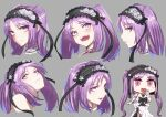 1girl bangs blush breasts chibi closed_mouth collarbone dress euryale_(fate) expression_chart fate/hollow_ataraxia fate_(series) frilled_hairband frills hairband long_hair looking_at_viewer minami_koyogi multiple_views open_mouth parted_bangs parted_lips purple_hair riyo_(lyomsnpmp)_(style) sidelocks small_breasts smile twintails very_long_hair violet_eyes white_dress