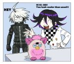 2boys :d ahoge android angry bangs blue_background border checkered checkered_scarf clenched_teeth commentary_request danganronpa_(series) danganronpa_v3:_killing_harmony frown furby furukawa_(yomawari) grey_hair hand_up highres jacket keebo long_sleeves male_focus multiple_boys open_mouth ouma_kokichi pale_skin scarf smile standing straitjacket teeth white_border white_jacket wide-eyed