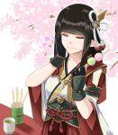 1girl aotsuki_(pixiv299691) bangs black_hair blush breasts drinking_glass hinoa japanese_clothes kimono long_hair monster_hunter monster_hunter_(series) monster_hunter_rise pointy_ears