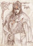 1boy armor cape character_name closed_mouth crown dated highres kazuki-mendou long_hair looking_at_viewer male_focus one-hour_drawing_challenge orange_eyes orange_theme own_hands_together signature silmarillion solo spot_color turgon