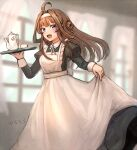 1girl ahoge alternate_costume apron black_dress brown_hair double_bun dress enmaided hairband holding holding_tray juliet_sleeves kantai_collection kongou_(kancolle) long_hair long_sleeves maid maid_apron puffy_sleeves solo tray violet_eyes white_apron white_hairband wss_(nicoseiga19993411)