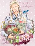 2boys :d apple basket bird blonde_hair blue_eyes blush character_name child dated father_and_son flower food fruit highres kazuki-mendou legolas long_hair multiple_boys open_mouth orange_flower pear pink_background pointy_ears signature simple_background smile the_hobbit thranduil yellow_flower younger