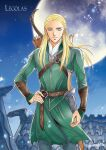 1boy arrow_(projectile) belt blonde_hair blue_eyes bow_(weapon) bracer brown_belt character_name closed_mouth full_moon green_robe hair_slicked_back hand_on_hip highres kazuki-mendou legolas long_hair looking_at_viewer lord_of_the_rings male_focus moon pants pointy_ears quiver rooftop scabbard sheath sheathed side_braids signature smile solo standing sword weapon weapon_on_back