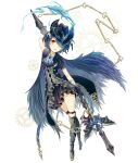 1girl alice_(sinoalice) blue_hair blush boots cape chain chibi feathered_cape feathers gears gloves hair_over_one_eye hat knee_boots legband looking_at_viewer moo_alice_moo open_mouth polearm puffy_short_sleeves puffy_sleeves red_eyes short_hair short_sleeves sinoalice solo tattoo weapon white_background