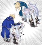 2boys 2girls ahoge apologizing arthur_pendragon_(fate) artoria_pendragon_(all) black_gloves black_pants blonde_hair bowing braid fate/grand_order fate/prototype fate/stay_night fate_(series) fingerless_gloves flower_knot forced forced_bowing french_braid gloves greaves highres hooded_robe kujiramaru merlin_(fate) merlin_(fate/prototype) multiple_boys multiple_girls pants robe saber sweat sweating_profusely white_hair white_hood white_robe wide_sleeves