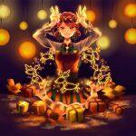 1girl :d absurdres barefoot blush bow box braid brown_eyes brown_hair earrings gift green_bow hair_ornament hair_rings hands_up highres huge_filesize jewelry lantern looking_at_viewer open_box open_mouth orange_skirt original pose reindeer sitting skirt smile star_(symbol) star_hair_ornament striped striped_skirt yuzor_a_rancia