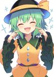 1girl :d ^_^ black_headwear blush closed_eyes commentary_request e.o. eyebrows_visible_through_hair green_hair hat highres koishi_day komeiji_koishi long_sleeves open_mouth short_hair simple_background smile solo sparkle touhou upper_body white_background wide_sleeves
