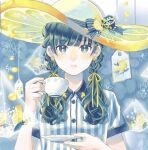 1girl bangs blue_background blue_bow blue_eyes blue_hair bow braid cup earrings food fruit hat hat_bow hat_ornament jewelry lemon lemon_slice looking_at_viewer original saucer shirt short_sleeves striped striped_shirt teabag teacup twin_braids upper_body white_headwear yellow_pupils yuzor_a_rancia
