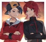 2boys ahoge backwards_hat black_eyes black_hair closed_mouth commission commissioner_upload ethan_(pokemon) grin hat high_collar highres jacket looking_at_another male_focus multiple_boys open_mouth pokemon pokemon_(game) pokemon_hgss redhead short_hair silver_(pokemon) sky smile sunset syerii teeth violet_eyes