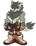 1boy animal_ears body_fur boots brown_pants clenched_hands colored_sclera commentary english_commentary full_body furry gloves grey_fur grey_hair half-closed_eyes highres jewelry kaijumilk_(milkchaotea) looking_at_viewer male_focus orange_eyes orange_footwear original pants ryder_(milkchaotea) shirtless simple_background single_earring smile solo standing tail white_background wolf_boy wolf_ears wolf_tail yellow_sclera