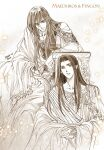 2boys braid brown_theme character_name elf fingon harp highres holding holding_instrument instrument ivy kazuki-mendou long_hair looking_at_viewer maedhros male_focus monochrome multiple_boys parted_lips pointy_ears robe sepia shirt side_braid silmarillion smile solo