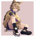 1girl alternate_costume bangs beige_jacket belt black_legwear blonde_hair contemporary earmuffs headphones highres jacket jichou_senshi light_brown_hair multicolored_footwear nike pointy_hair purple_nails purple_shorts scarf shoes short_hair shorts sneakers socks touhou toyosatomimi_no_miko yellow_eyes